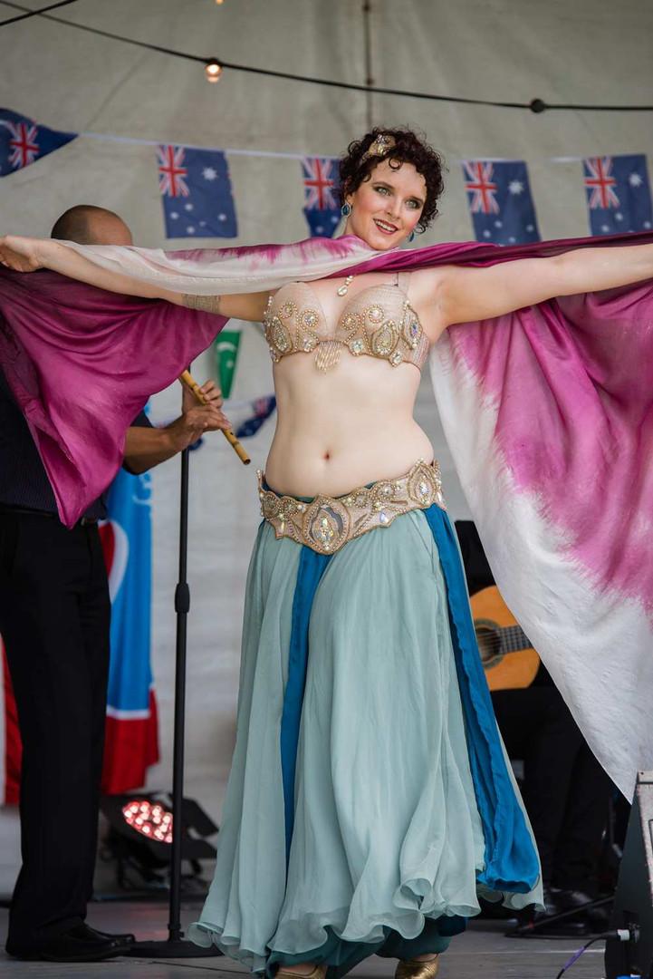 Belly Dancer with veil House of Maqam Tara Yasmin