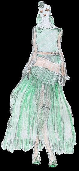 Pulloverkleid-grün oranges Kleid