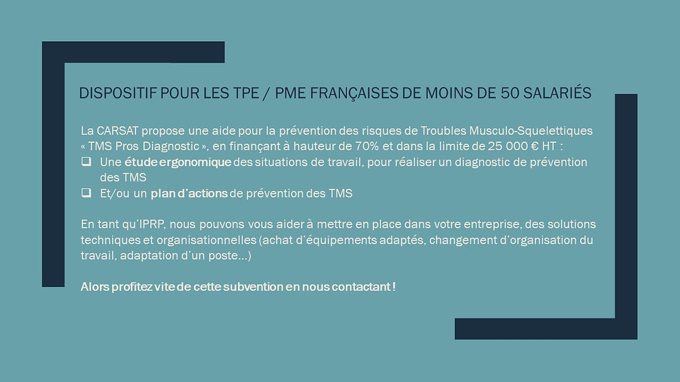 Subvention prévention des TMS