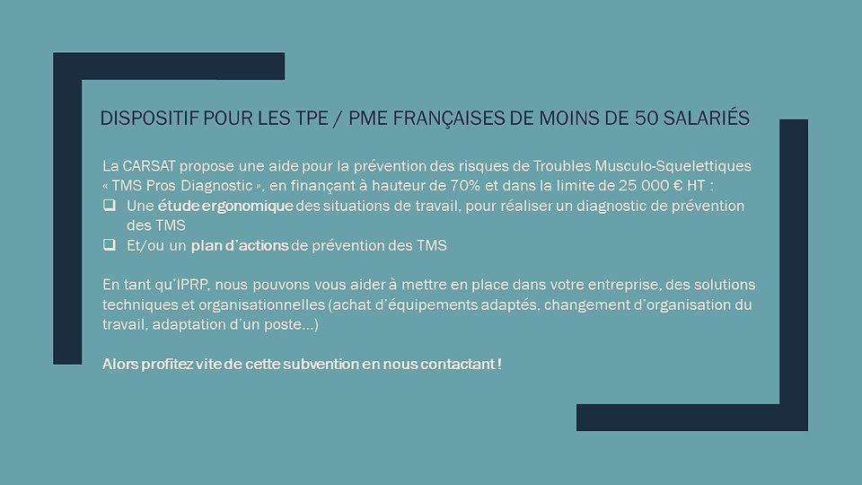 Subvention prévention des TMS