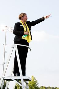 Dr. Debra Traficante conducting pre-game