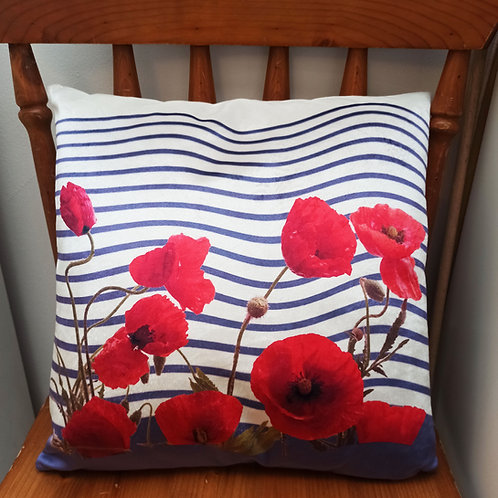 coussin   rayures marine coquelicots muriel-m