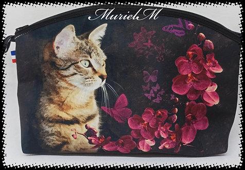 trousse de toilette arrondie chat orchidées