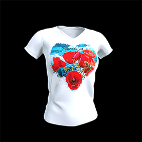 tee shirt passion du sud coquelicot