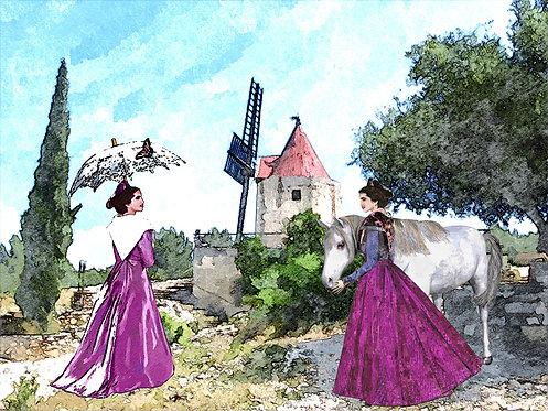 set de table arlésienne le moulin de Daudet