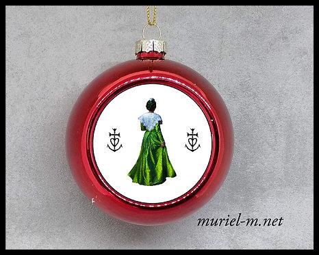 boule de noel arlésienne verte croix de Camargue