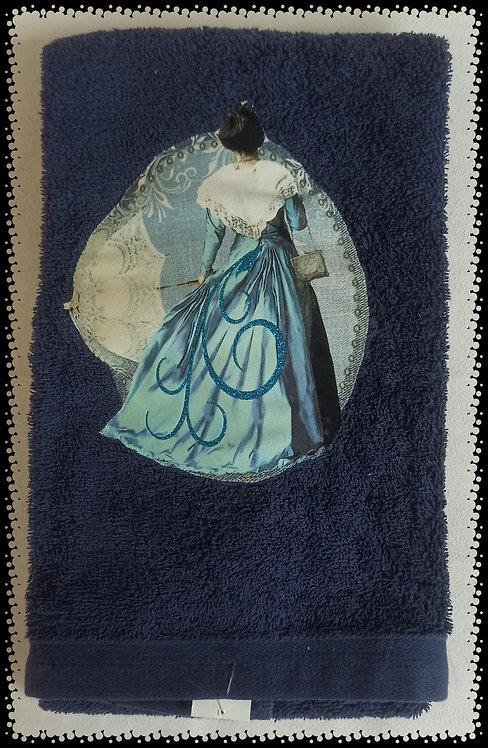 serviette éponge arlésienne bleu ombrelle muriel-m