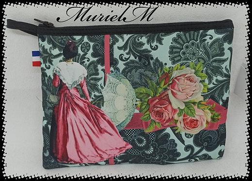trousse de toilette arlésienne dentelles noir et roses muriel-m