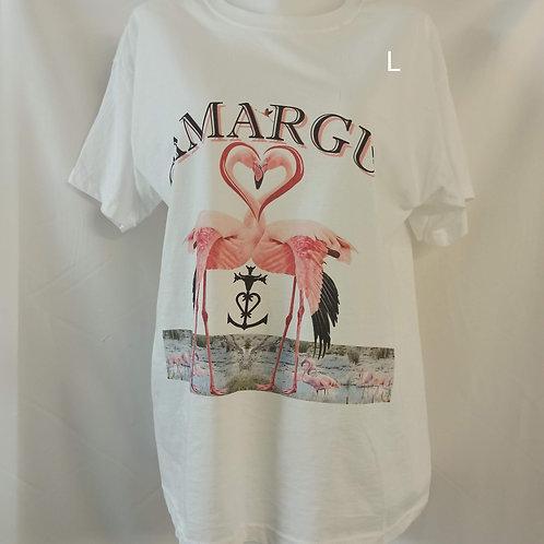 tee shirt flamant rose cœur Camargue