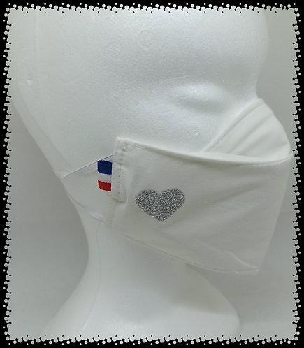 Masque Cœur Argent Brillant