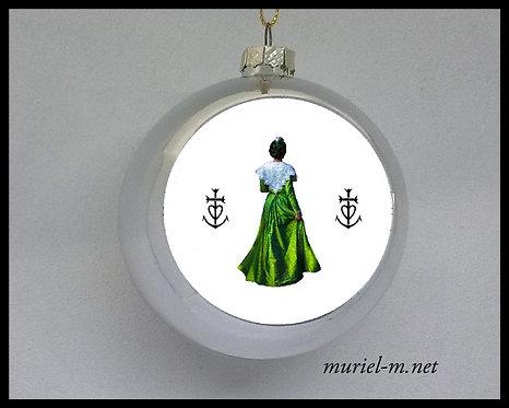 boule de noël arlésienne verte croix de Camargue