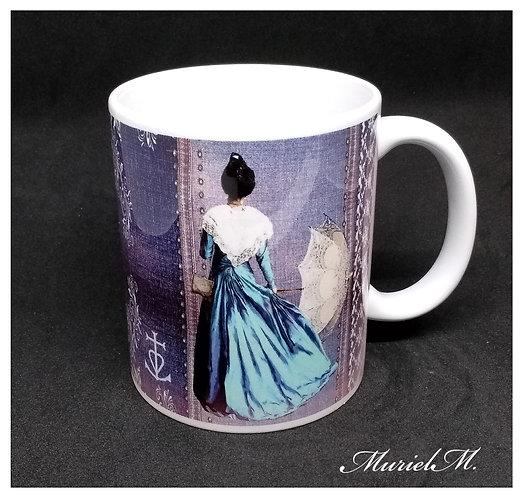 Mug Motif Arlésienne bleue ombrelle
