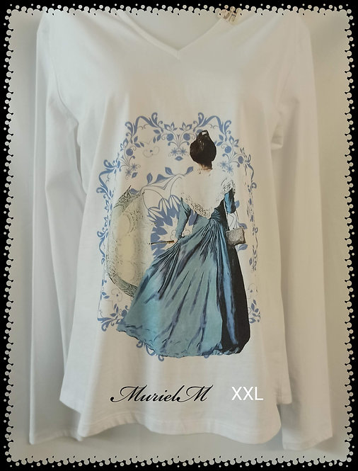 tee shirt arlésienne bleu manche longue