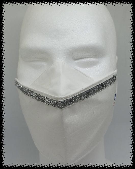 masque blanc glit argent pailleté