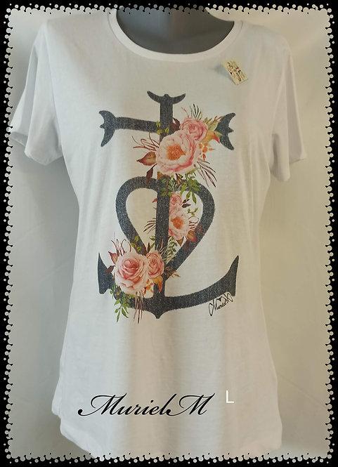 tee shirt croix de Camargue et roses ancienne