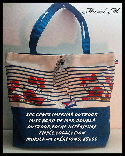 sac cabas shopping miss plage vague marine coquelicots muriel-m