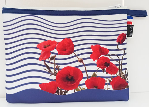 trousse rayures marine coquelicots muriel-m