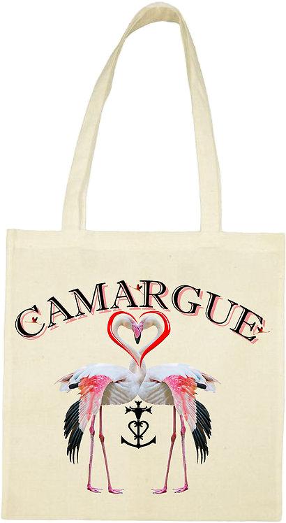 tot bag flamant rose cœur Camargue