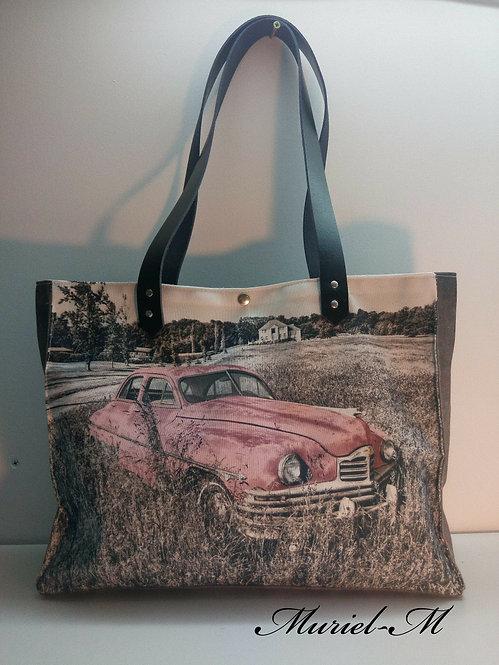 Sac cabas  voiture vintage rose