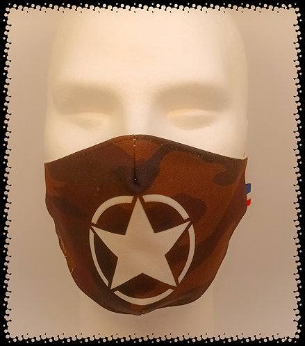 masque barrière camouflage gliter croix blanche