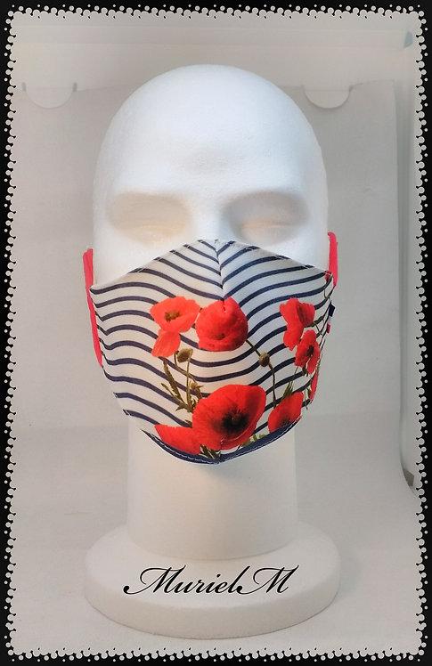 Masque Rayures Marine Coquelicots