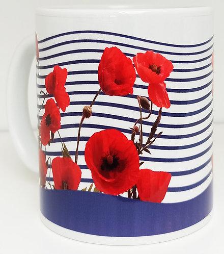 mug  rayures marine coquelicots muriel-m
