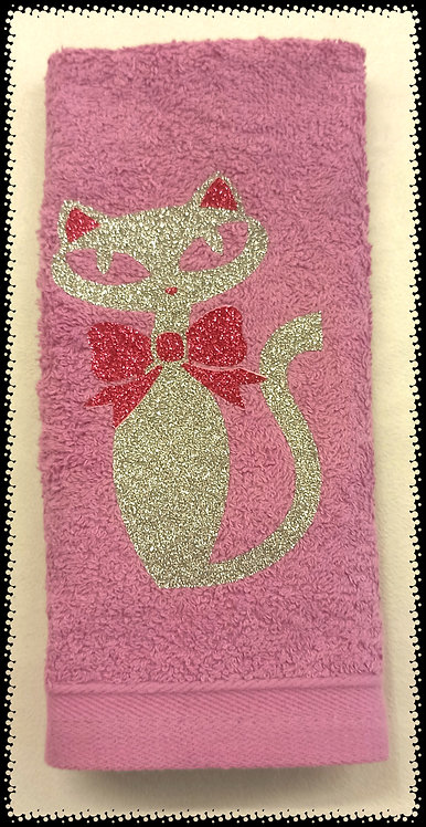 serviette éponge chat gliter brillant argent
