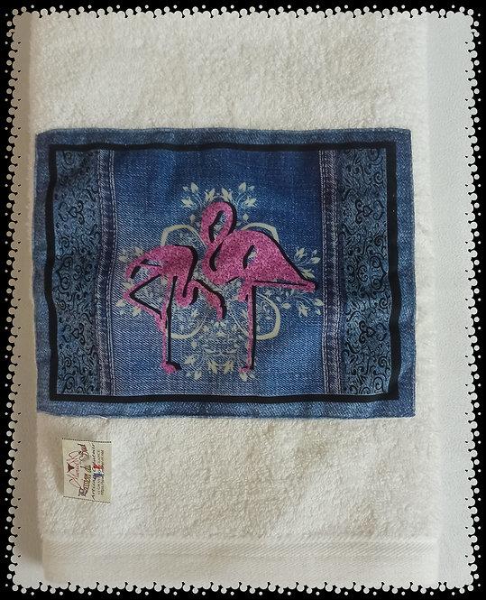 serviette éponge flamant fond jean