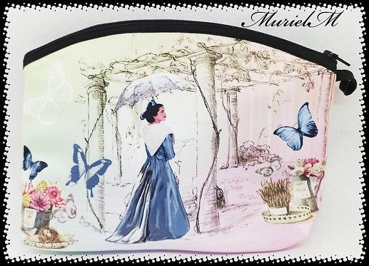 trousse de toilette arrondie arlésienne papillonner pastel vintage