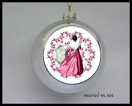 boule de noël arlésienne rose mandala muriel-m