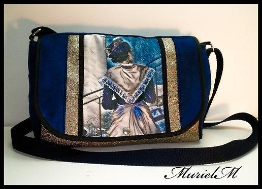 Sac besace shopping Arlésienne bleu muriel-m