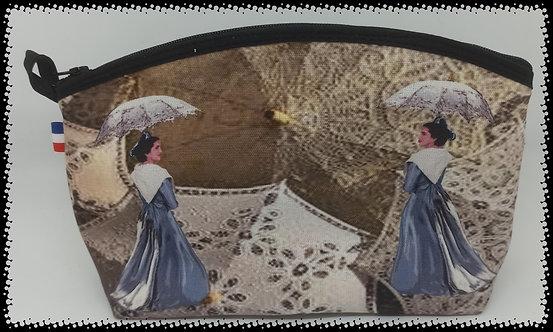 trousse de toilette arrondie arlésienne bleu ombrelle muriel-m