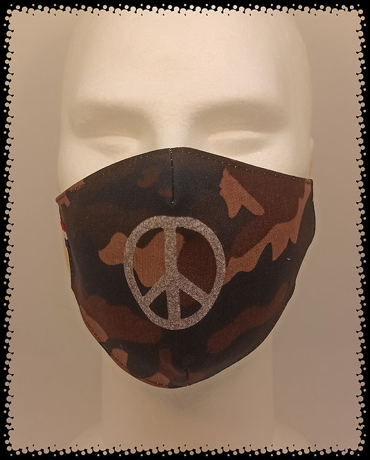 masque barrière camouflage gliter peace and love