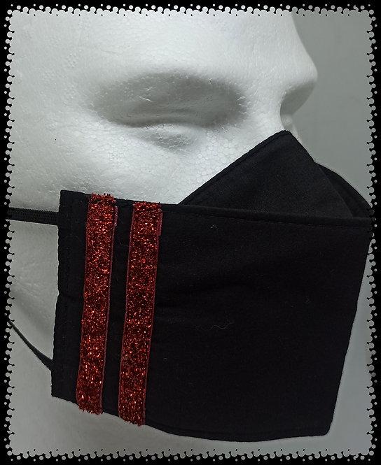 masque noir bande glit rouge pailleté muriel-m