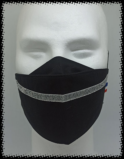 masque noir bande glit argent pailleté muriel-m
