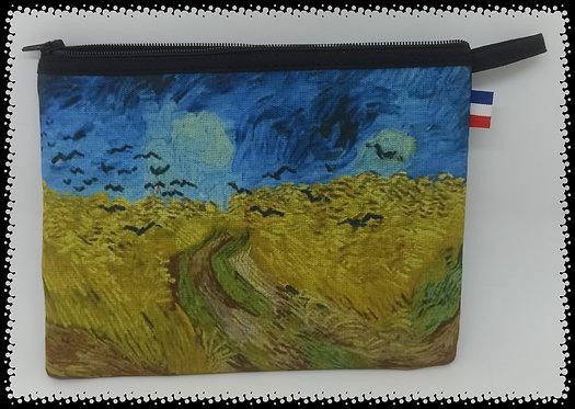 trousse rectangle champ de blé aux corbeaux