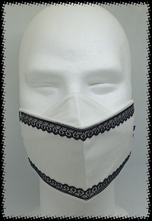 masque blanc dentelles noir muriel-m
