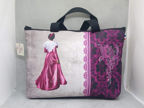 sac shopping arlésienne dentelles violet muriel-m