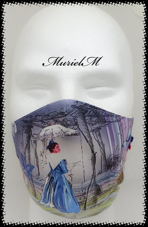 Masque Arlésienne Bleue Ombrelle Vintage
