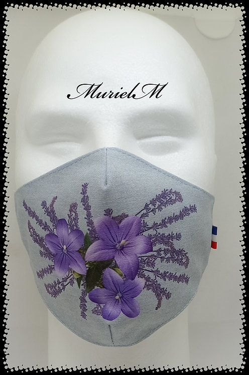 Masque Fleurs de Lavande sur Fond Jean muriel-m