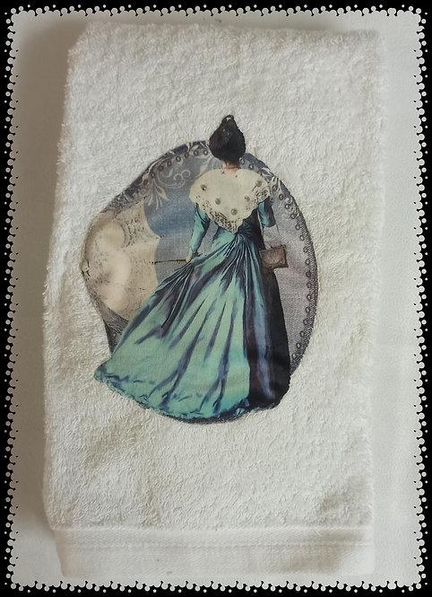 Serviette Eponge arlésienne bleu ombrelle muriel-m