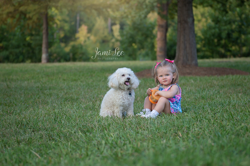 Little girl and her dog
