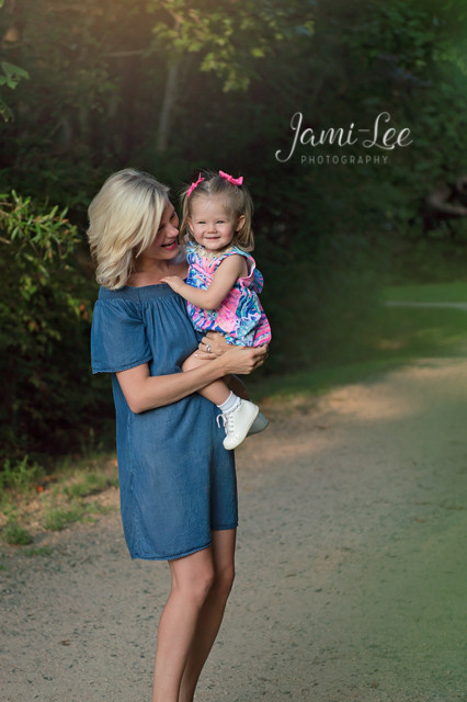 Mommy and daughter in the park