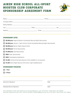 Aiken High School Sponsorship form