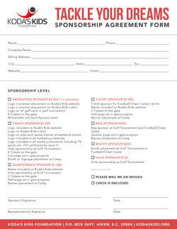 Koda's Kids Sponsorship Form