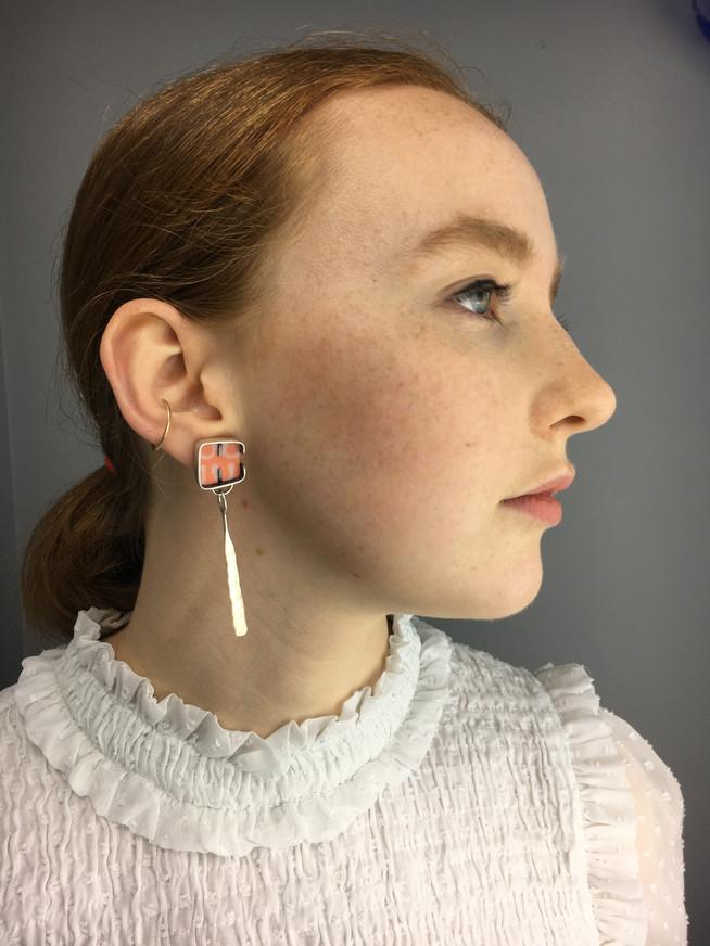Cobble Long Tab Earrings