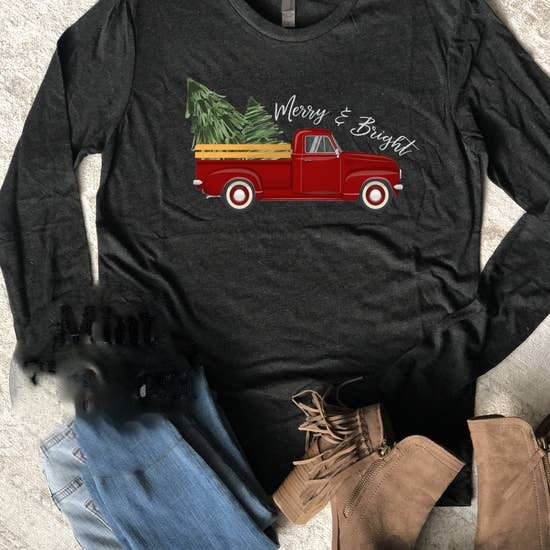 Long Sleeve Merry And Bright Truck Christmas Shirt Tee