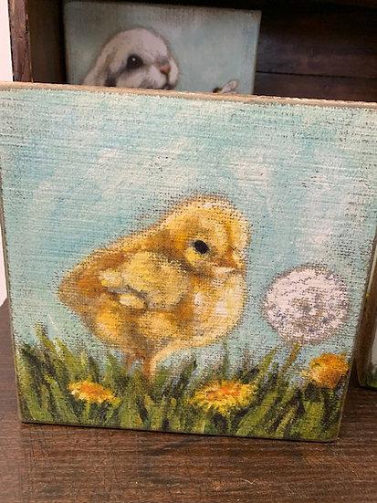Chick Block Sign Shelf Sitter