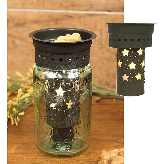 Punched Stars Pint Mason Jar Wax Warmer