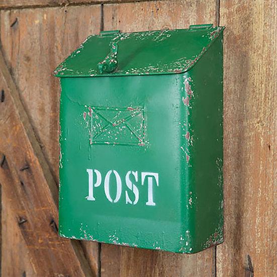 Green Post Box with Bird